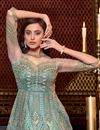 photo of Net Fabric Embroidered Rception Wear Stylish Gown Style Anarkali Suit In Sea Green Color