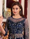 photo of Embroidered Function Wear Designer Gown Style Anarkali Suit In Navy Blue Color Net Fabric