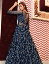 picture of Embroidered Function Wear Designer Gown Style Anarkali Suit In Navy Blue Color Net Fabric