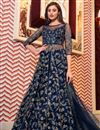 image of Embroidered Function Wear Designer Gown Style Anarkali Suit In Navy Blue Color Net Fabric