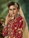 photo of Fancy Red Embroidered Sangeet Wear Sharara Top Lehenga In Velvet Fabric