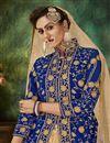 photo of Fancy Sangeet Wear Velvet Fabric Embroidered Sharara Top Lehenga In Blue