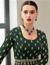 photo of Dark Green Color Function Wear Elegant Embroidered Georgette Fabric Anarkali Dress