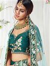 photo of Teal Color Wedding Function Wear Art Silk Fabric Embroidered Lehenga Choli