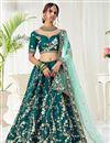 image of Teal Color Wedding Function Wear Art Silk Fabric Embroidered Lehenga Choli