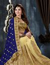 photo of Urvashi Rautela Cream-Blue Embroidered Saree-9002