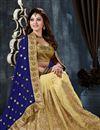 photo of Urvashi Rautela Cream-Blue Embroidered Saree-9002