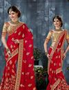 image of Urvashi Rautela Red Embroidered Saree-9003
