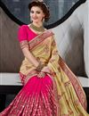 photo of Urvashi Rautela Pink-Cream Lycra-Net Saree-9012