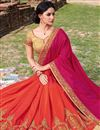 photo of Beautiful Pink And Orange Color Designer Party Wear Crepe And Chiffon Saree With Embroidery Work