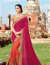 image of Beautiful Pink And Orange Color Designer Party Wear Crepe And Chiffon Saree With Embroidery Work