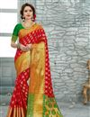 image of Festive Wear Designer Saree In Red Color Weaving Worked Art Silk