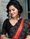photo of Orange Color Designer Party Wear Crepe-Silk Saree with Border
