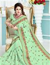 photo of Yuvika Chaudhary Featuring Designer Green Color Wedding Wear Embroidered Saree