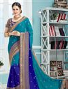image of Designer Wedding Wear Saree In Blue Color Georgette And Chiffon Fabric With Beautiful Designs Featuring Yuvika Chaudhary