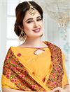 photo of Yuvika Chaudhary Featuring Crepe And Georgette Fabric Yellow Color Sangeet Wear Saree With Eye Catchy Embroidery Designs
