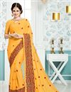 image of Yuvika Chaudhary Featuring Crepe And Georgette Fabric Yellow Color Sangeet Wear Saree With Eye Catchy Embroidery Designs