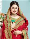 photo of Attractive Embroidery Work On Crepe And Silk Fabric Reception Wear Designer Saree In Red Color With Blouse Featuring Yuvika Chaudhary