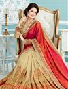 photo of Yuvika Chaudhary Red And Cream Color Designer Party Wear Embroidered Saree In Crepe And Silk Fabric