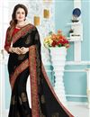 image of Yuvika Chaudhary Featuring Black Color Function Wear Embroidered Designer Saree With Raw Silk Fabric Blouse