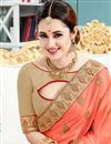photo of Yuvika Chaudhary Featuring Crepe And Silk Fabric Peach Color Sangeet Wear Saree With Eye Catchy Embroidery Designs