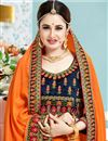 photo of Yuvika Chaudhary Featuring Designer Orange Color Wedding Wear Embroidered Saree