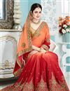 photo of Attractive Embroidery Work On Crepe And Silk Fabric Reception Wear Designer Saree In Orange And Red Color With Blouse Featuring Yuvika Chaudhary