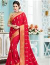 image of Yuvika Chaudhary Red Color Designer Party Wear Embroidered Saree In Silk Fabric