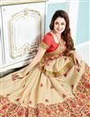 photo of Yuvika Chaudhary Featuring Cream Color Crepe And Silk Fabric Function Wear Embroidered Saree With Blouse