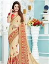 image of Yuvika Chaudhary Featuring Cream Color Crepe And Silk Fabric Function Wear Embroidered Saree With Blouse