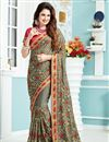 image of Yuvika Chaudhary Featuring Crepe And Silk Fabric Grey Color Sangeet Wear Saree With Eye Catchy Embroidery Designs