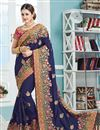 image of Yuvika Chaudhary Featuring Crepe And Silk Fabric Blue Color Sangeet Wear Saree With Eye Catchy Embroidery Designs
