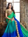 photo of Mesmeric Cyan And Green Color Chiffon Party Wear Saree