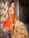 photo of Party Wear Stunning Orange And Beige Color Chiffon Saree