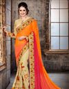 image of Party Wear Stunning Orange And Beige Color Chiffon Saree