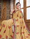 photo of Designer Crepe Party Wear Saree In Beige Color