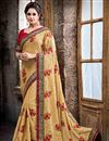 image of Designer Crepe Party Wear Saree In Beige Color