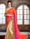 image of Orange And Cream Color Party Wear Chiffon Designer Saree