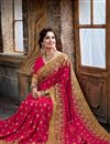 photo of Party Wear Designer Crepe And Silk Saree In Pink Color