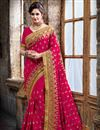 image of Party Wear Designer Crepe And Silk Saree In Pink Color