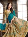 photo of Mesmeric Cyan And Beige Color Crepe Party Wear Saree