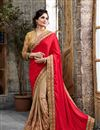 image of Enchanting Pink And Beige Color Designer Crepe And Silk Saree
