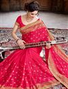 photo of Designer Crepe And Silk Party Wear Saree In Pink Color