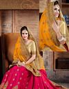 photo of Party Wear Designer Crepe And Silk Saree In Orange And Pink Color