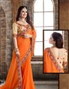 image of Mesmeric Orange Color Chiffon Party Wear Saree
