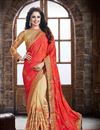 image of Party Wear Stunning Pink And Cream Color Crepe And Silk Saree