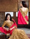 photo of Enchanting Pink And Beige Color Designer Crepe And Net Saree