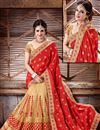 photo of Designer Crepe, Silk And Net Party Wear Saree In Red And Beige Color