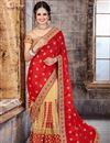 image of Designer Crepe, Silk And Net Party Wear Saree In Red And Beige Color