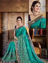 photo of Cyan Color Party Wear Crepe And Silk Designer Saree